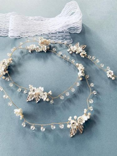 Gold, blush, ivory floral bridal hair vine hair accessory